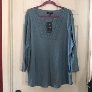 NWT Chaps cobble AVE blue 3/4 sleeve tee shirt
